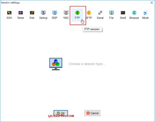打开MobaXterm,点击左上角的Session,在弹出的窗口中选择FTP,输入IP,用户与密码。