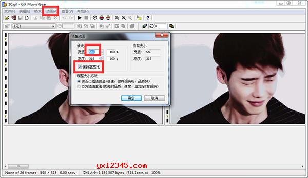 打开GIF Movie Gear软件,载入GIF图片,选择动画---调整大小。