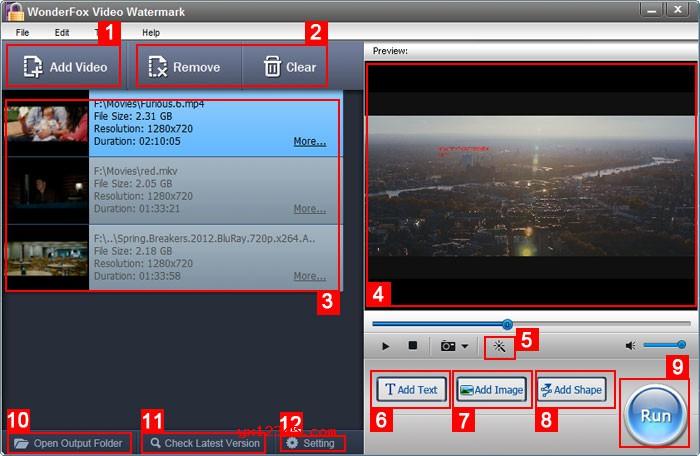 WonderFox Video Watermark视频加水印软件主界面介绍