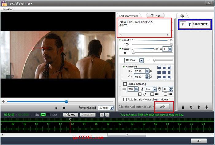 """打开WonderFox Video Watermark软件,加载视频文件,点击""""添加文本""""按钮输入您的水印文字。"""