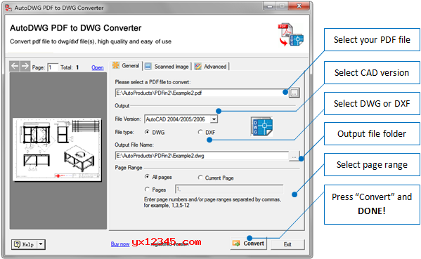 PDF转换成为DWG与DXF方法