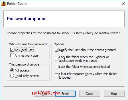 运行Folder Guard,选择要保护的文件夹,输入所需的密码,并根据需要调整密码属性。