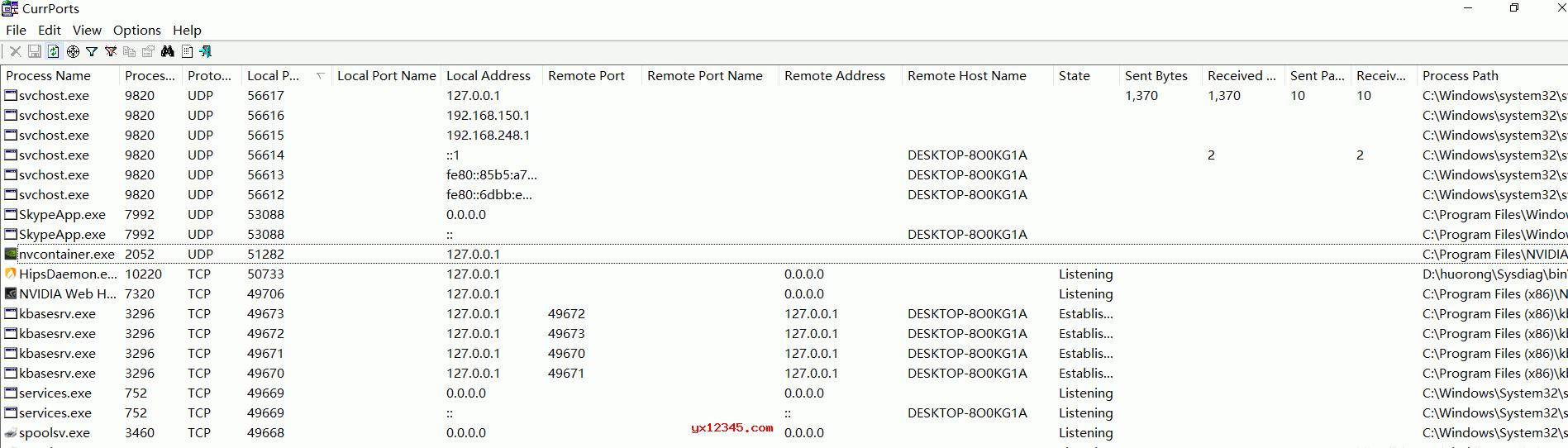解压后双击cports.exe打开软件,在界面上会显示所有当前打开的TCP与UDP端口的列表,显示进程名称、进程id、协议、本地端口、本地地址、远程端口、远程地址、进程路径等信息。