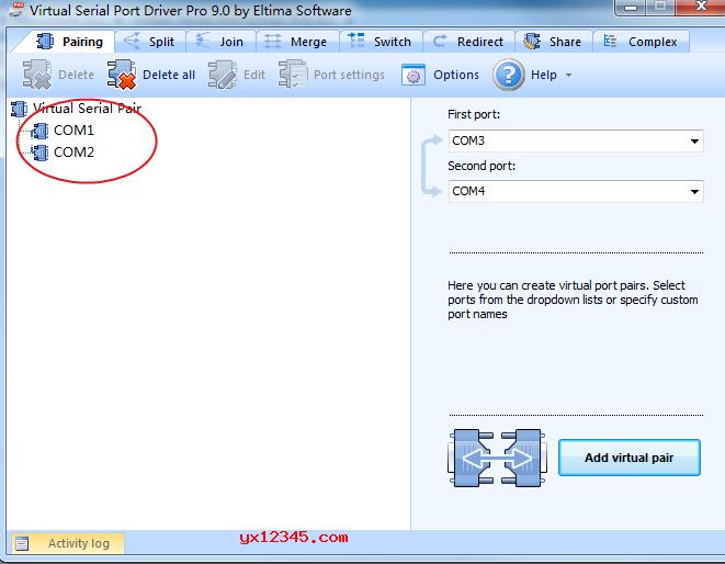 打开vspd虚拟串口工具,右上角设置串口,需要注意的是,这里的串口是成对存在的,相当于com1发的内容,com2接收,com2发的内容,com1接收。选择好串口后,点击右下角add virtual pair即可使用