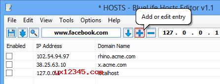 """如果您想阻止域名,则可以使用""""添加或编辑条目""""按钮。"""