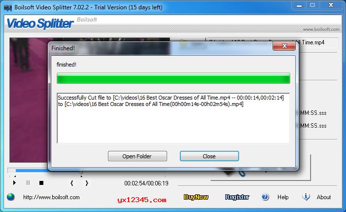 分割完成后,打开输出文件夹即可获得分割后的视频文件。