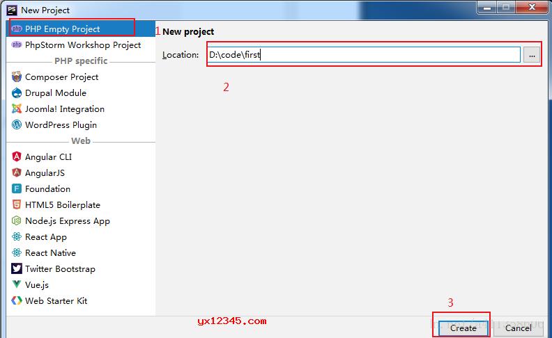 打开PHPStorm,点击Create New Project,选择PHP Empty Project,并新建一个空目录。