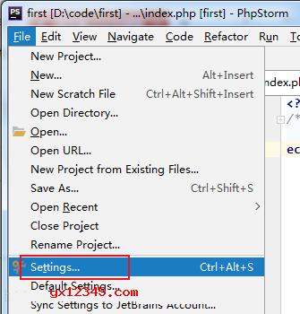 """点击""""File->Settings。"""