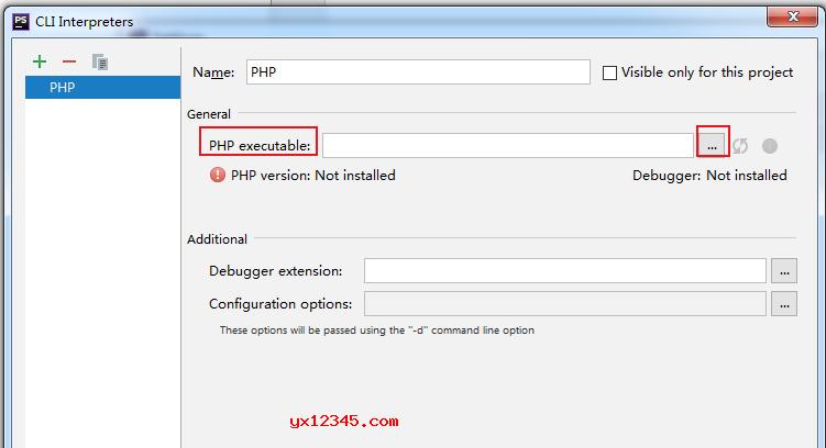 """点击""""PHP executable""""右边的""""...,找到电脑上已有的""""php.exe""""。"""