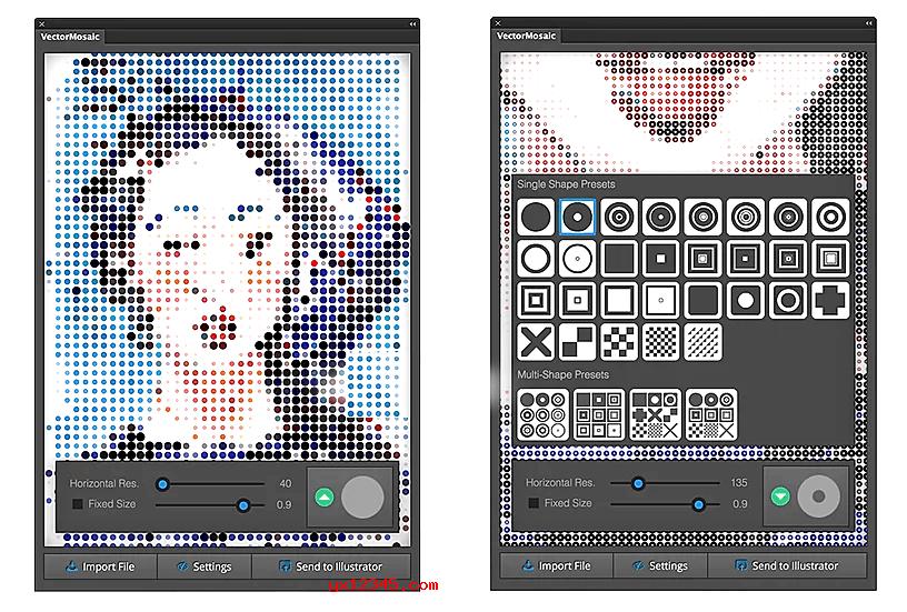 AI创建矢量马赛克和半色调效果插件_Vector Mosaics for AI
