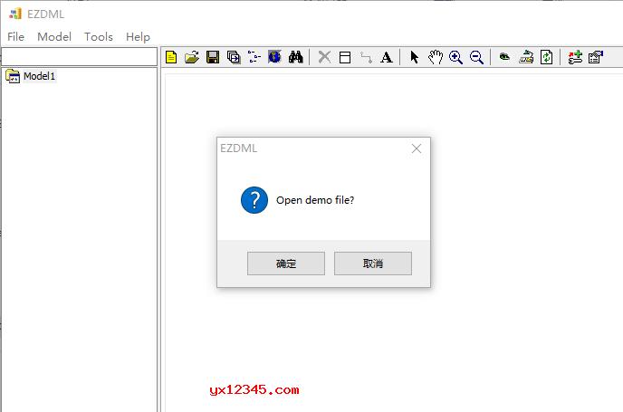 如果您使用的是英文系统或缺少ezdml.CHS文件时会显示英文界面