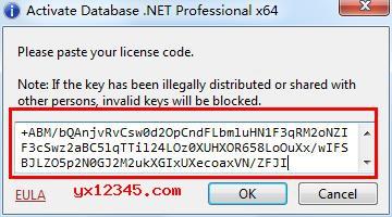 """打开Database .NET软件,切换到注册界面,复制序列号到注册栏里,点击""""OK""""即可激活。"""