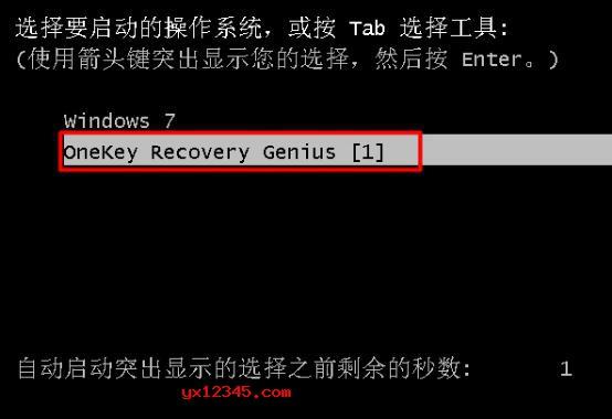 """等待电脑重新启动之后,在系统选择界面当中会多处一个""""onekey recovery genius""""选项,电脑会自动选择这个选项进入到还原系统的操作过程。"""