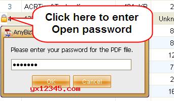 点击加入文件按钮,如果添加的文件是加密的请输入解密密码