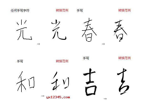 生成的书法字体样式展示
