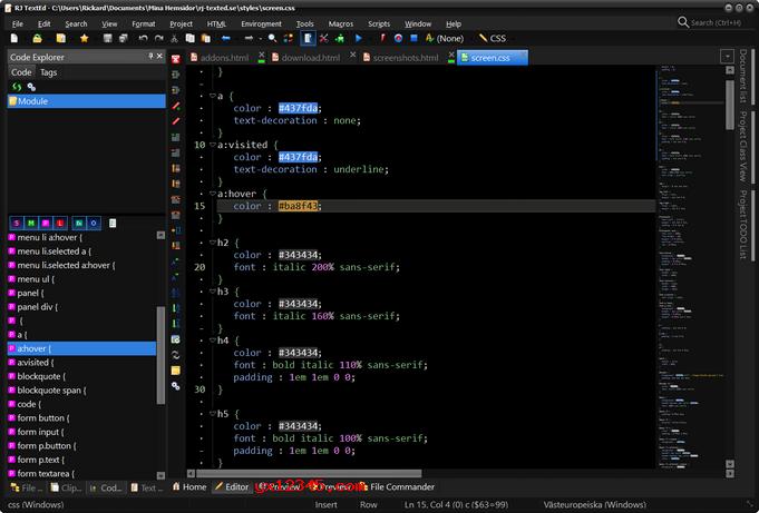 配置代码浏览器面板与CSS源代码中的颜色突出显示