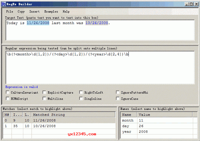 RegEx Builder自动生成正则表达式工具_生成验证测试正则表达式