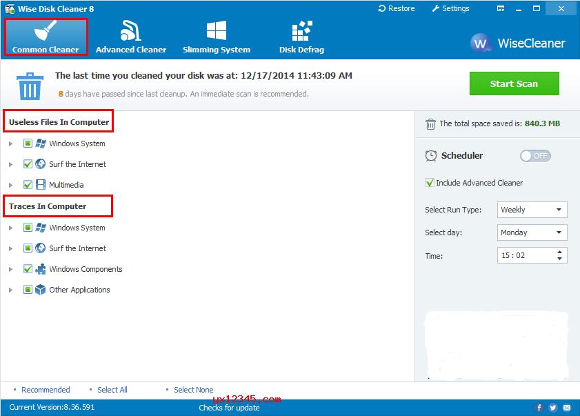 "双击""WiseDiskCleaner.exe""启动软件"