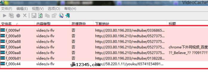 VideoCacheView会自动扫描并显示出当前搜索到的视频缓存文件