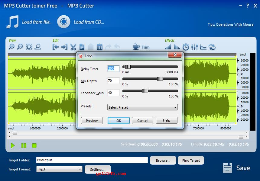 MP3 Cutter Joiner Free参数设置界面