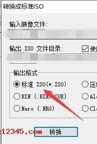 在设置菜单中点击输出格式为:标准ISO,随后点击下面的转换按钮就OK了。