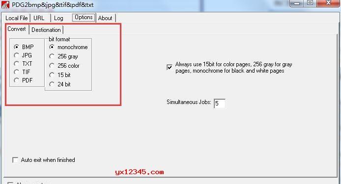 """打开软件,导入需要转换的PDG文件,随后点击""""Options""""按钮,设置相应的转换格式"""