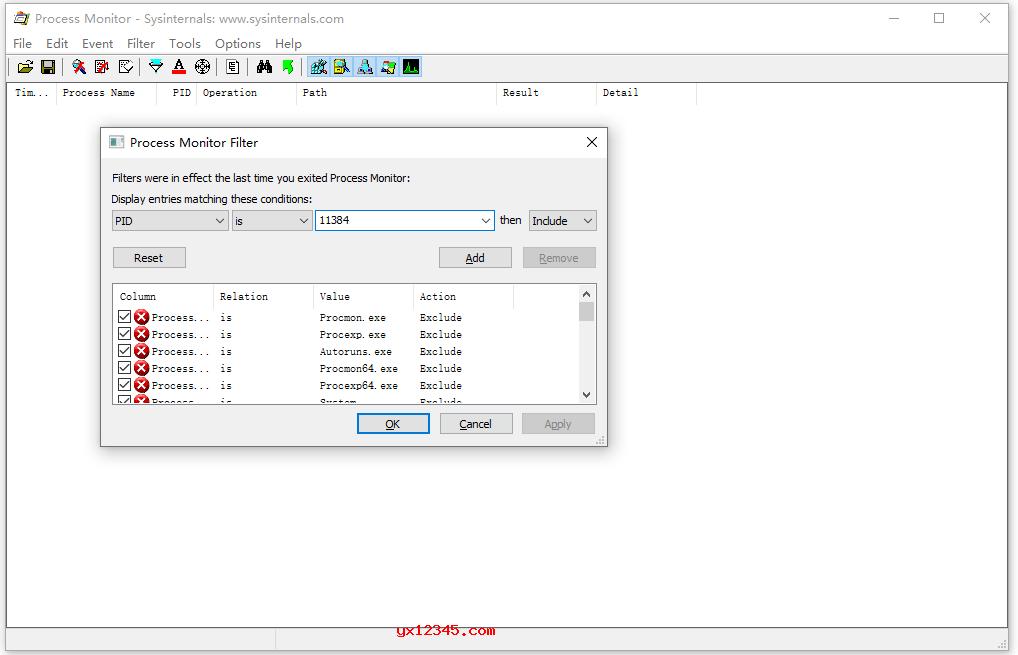 Process Monitor筛选过滤