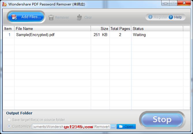 Wondershare PDF Password Remover操作界面截图