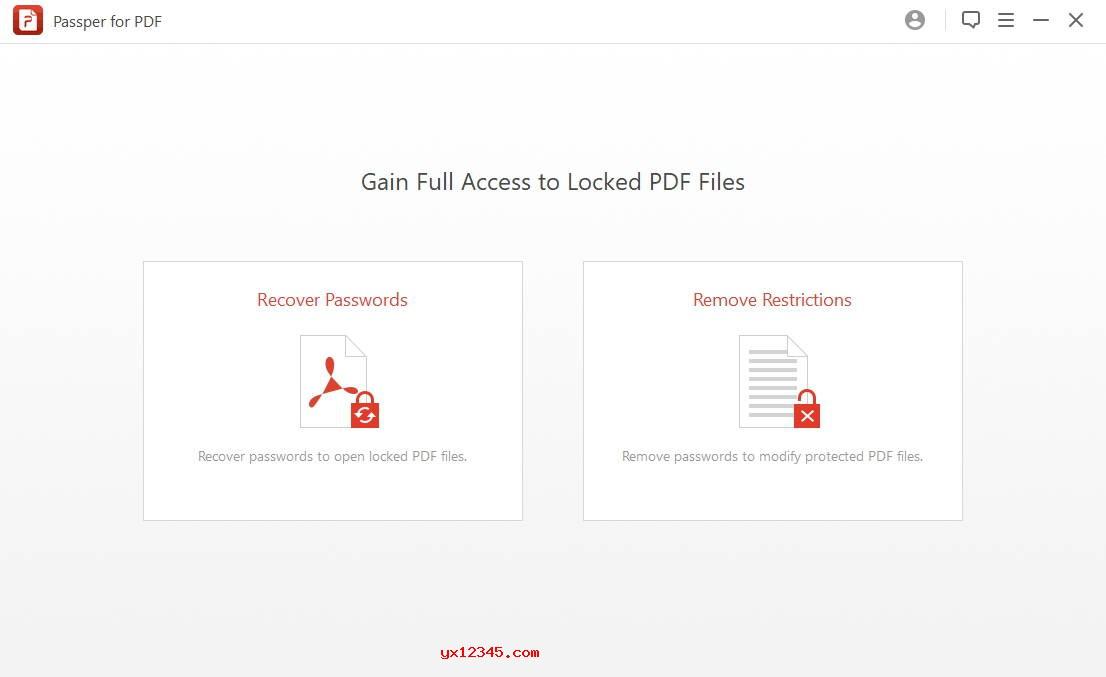 Passper for PDF英文界面截图