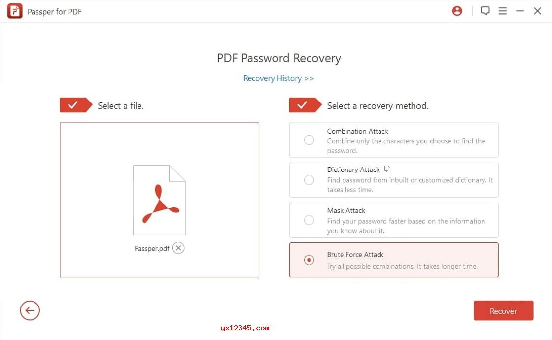 """启动Passper for PDF软件,随后选择""""恢复密码""""选项并选择一种恢复方法"""