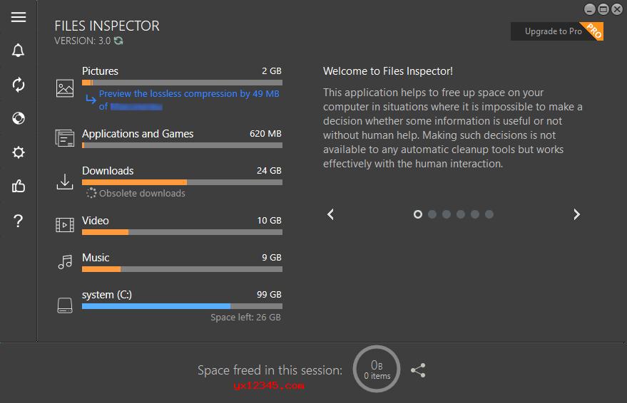 Files Inspector显示硬盘分析结果界面