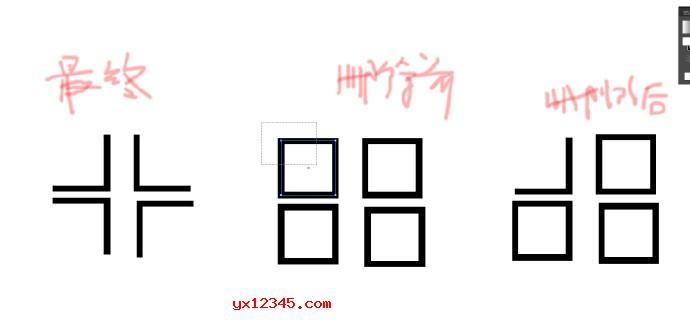 按A,即直接选择工具,点选矩形,矩形四周出形编辑点,拉动鼠标在不需要的两边划一个矩形,随后按删除键,即出现一个拐角;用同样的办法处理另三个矩形。