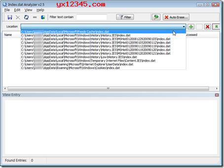 扫描完成后可以在下拉菜单中选择我们要查看的Index.dat文件。