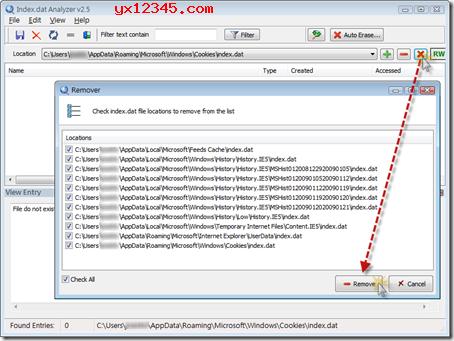 可以一键删除系统中的所有Index.dat文件