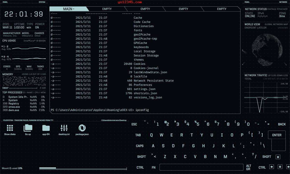 eDEX-UI终端模拟器_黑客风可定制终端模拟器和系统监视器