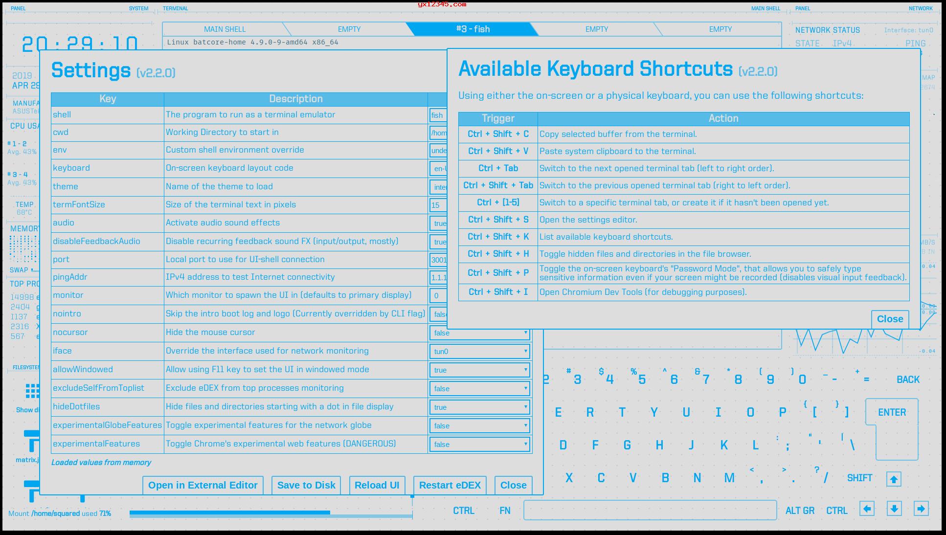 eDEX-UI终端模拟界面2