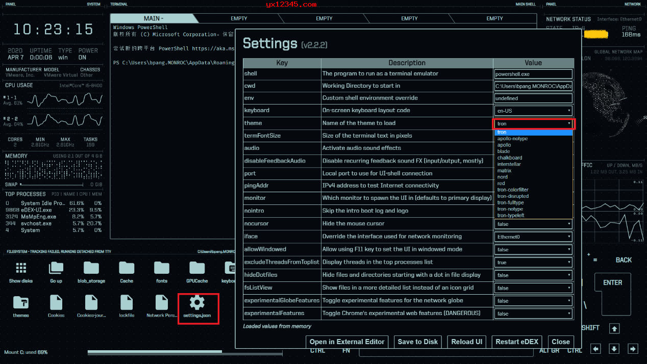 点击settings.json,随后修改themes可以更改主题