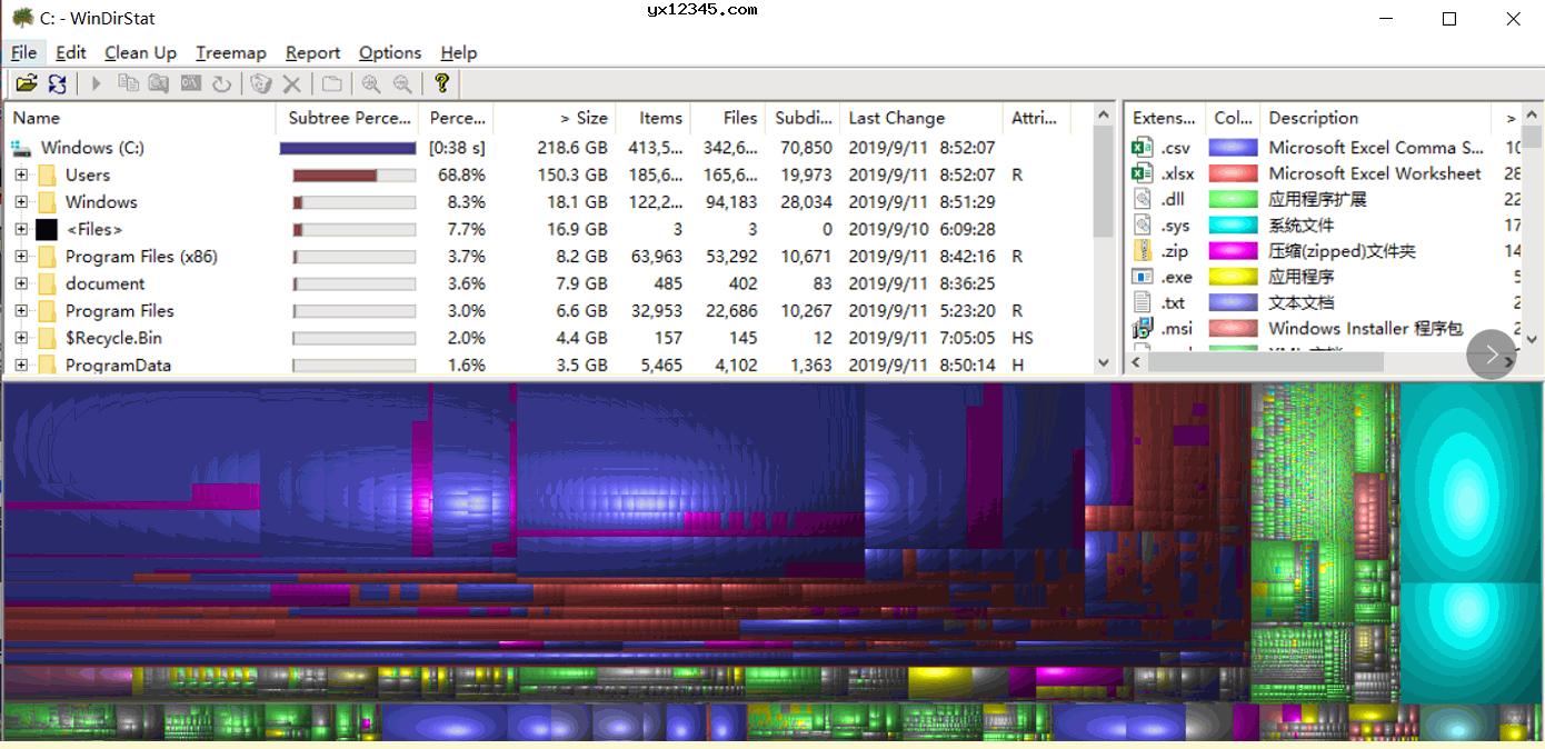 扫描完成后会使用颜色区分不同的文件,点击不同的颜色即可选择删除文件
