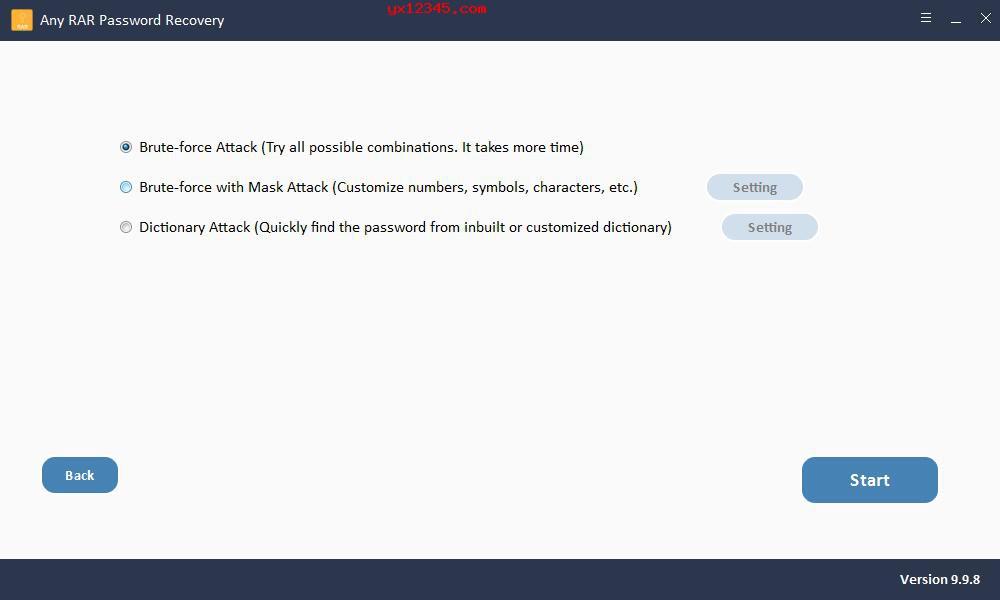 打开软件添加RAR文件,选择密码破解类型