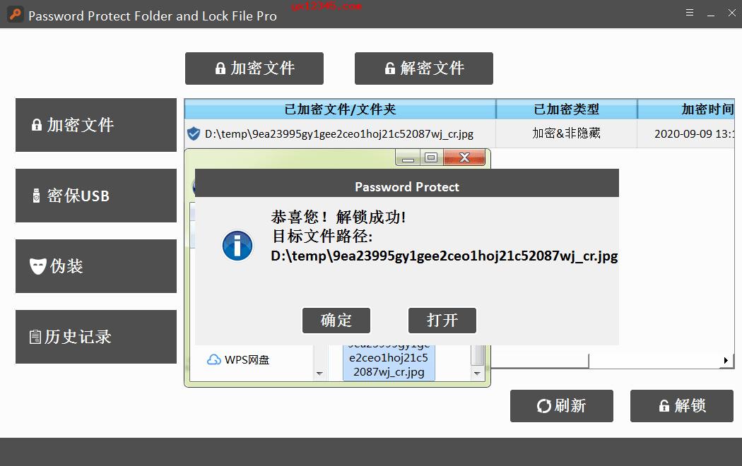 已加密文件解锁成功截图