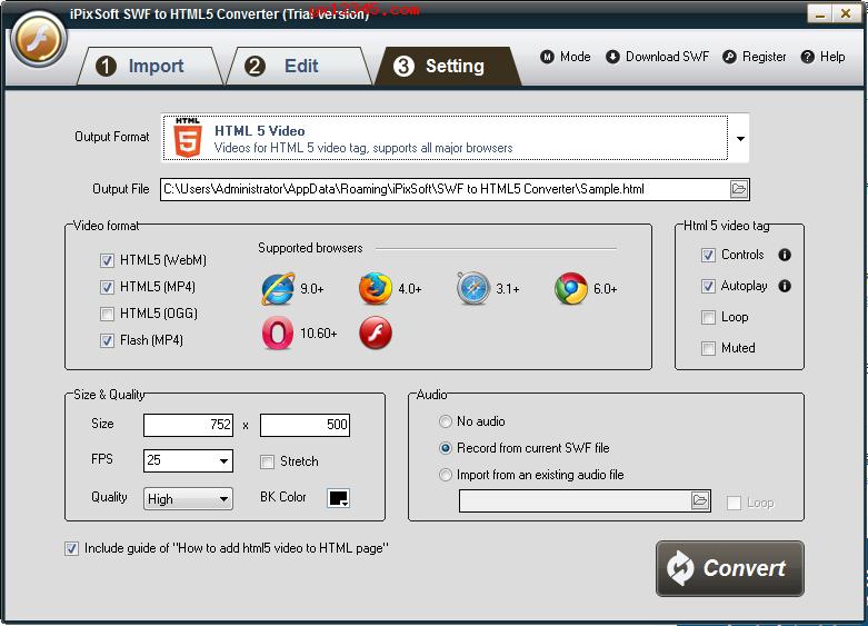 打开软件,导入swf文件并进行参数编辑