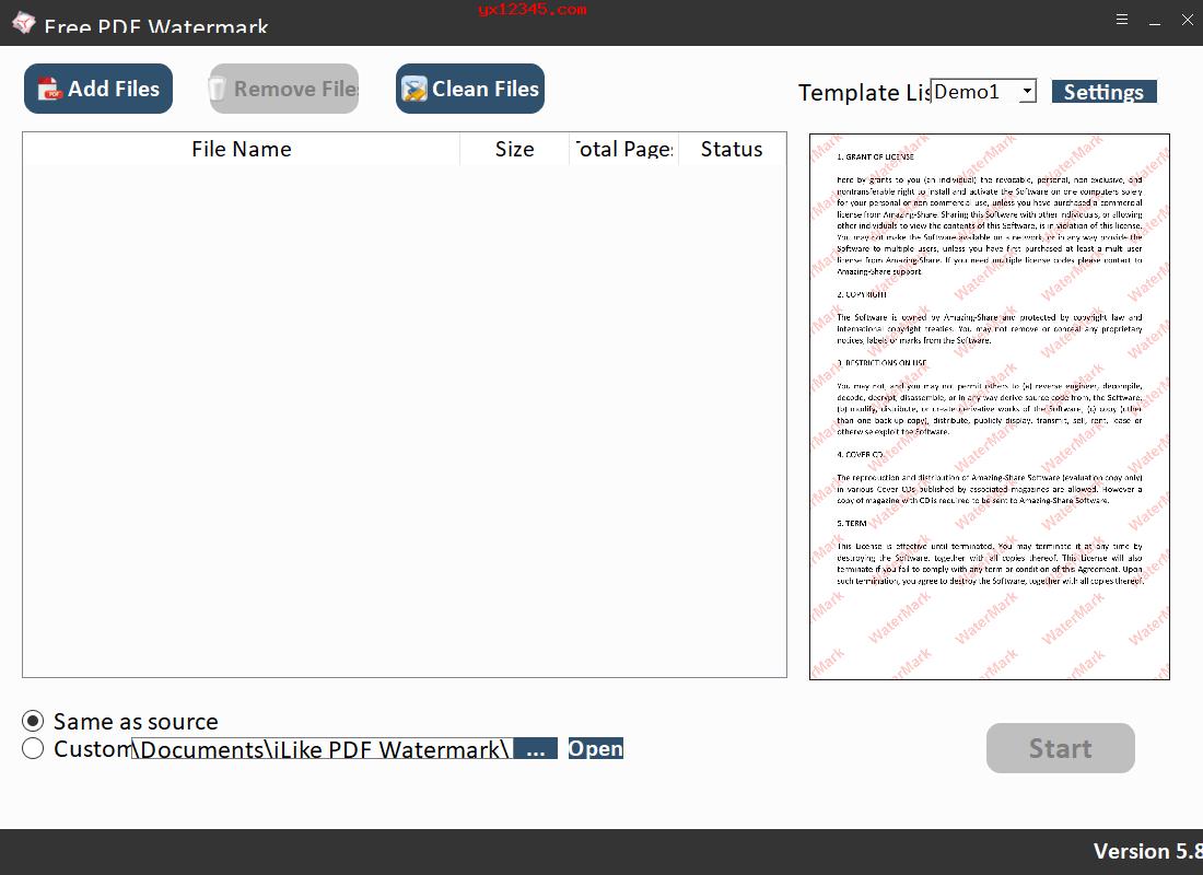PDF水印添加工具_Free PDF Watermark_支持文字水印和图像水印