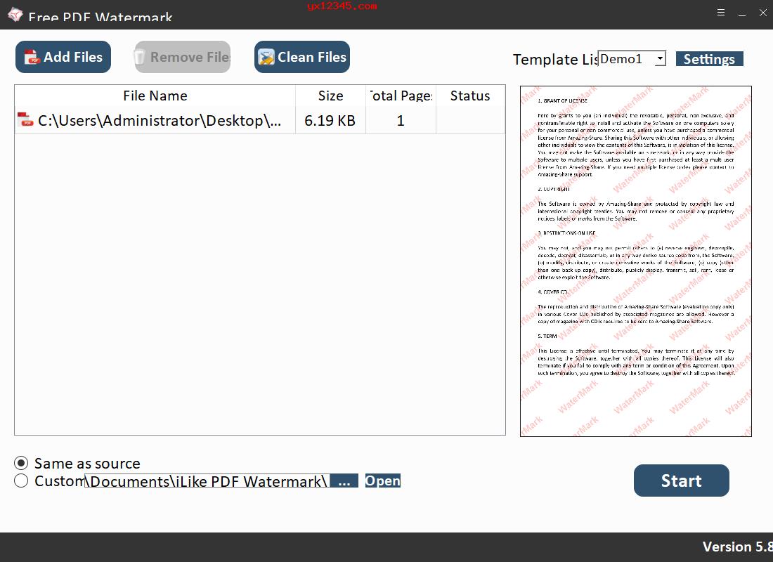 Free PDF Watermark操作界面截图