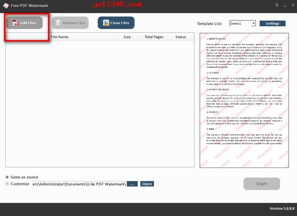 Free PDF Watermark为PDF文件添加水印教程