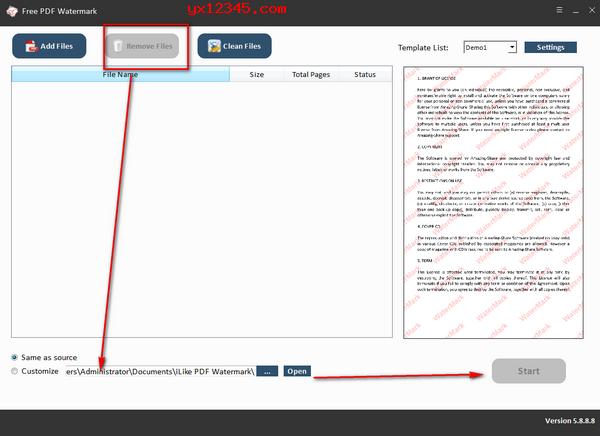 打开软件,导入PDF文件,选择水印方式并设置参数