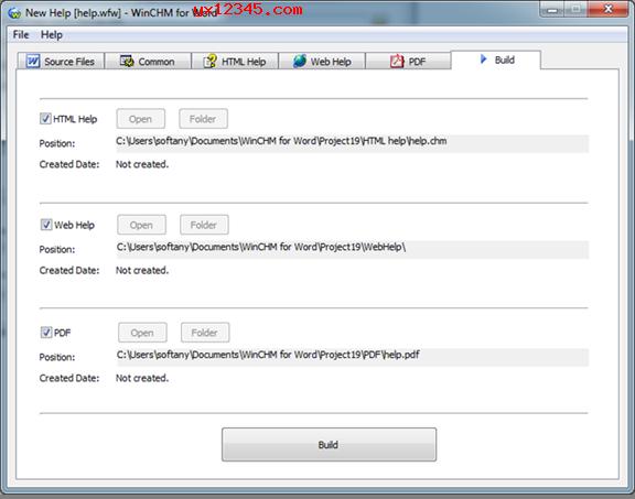 单击Build按钮开始输出帮助文件